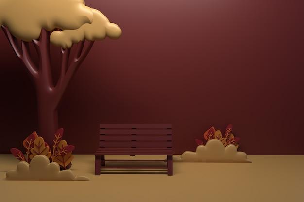 가을 벤치 옆에 있는 나무, 덤불, 나뭇잎. 3d 렌더링 그림