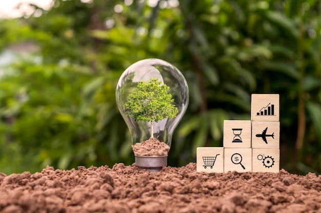 Trees grow in energy-saving lamps and wooden blocks with business symbols. financial concept energy loans and investments
