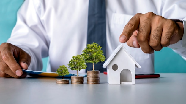 Trees grow on piles of coins and home models simulate mortgage and real estate loan ideas.