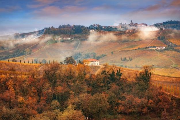 Treiso осенью, ланге, пьемонт, италия