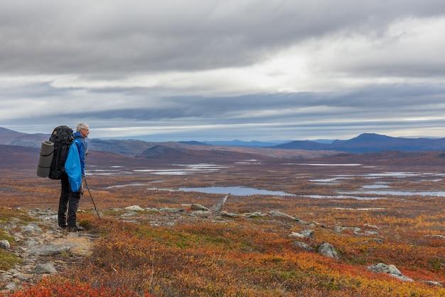 On a trekking tour in lapland, sarek, sweden