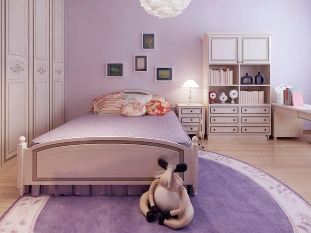 広々としたティーンエイジャーの寝室のトレンド。