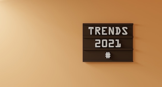 Trends 2021 words concept on brown wood scene attached to the orange cream wall - 3d rendering