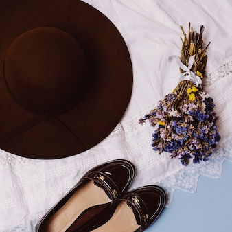 Trendy autumn look. hat and shoes. country style.