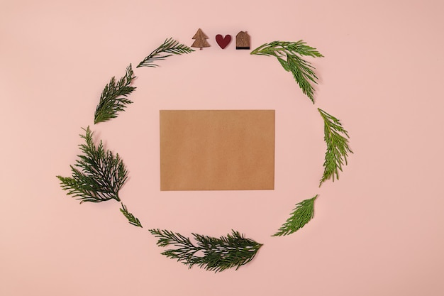 Trendy christmas circle arrangement made with wooden christmas tree red heart ornament