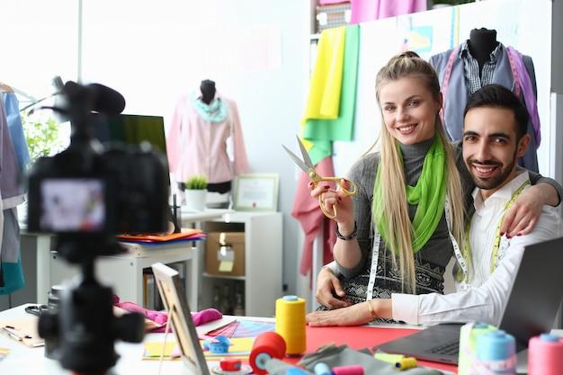 Trendy clothes creating design video blog concept