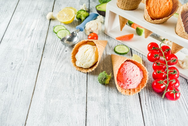 Trendy colorful vegetable ice cream