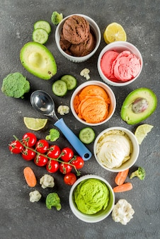 Trendy colorful vegetable ice cream