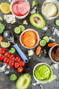 Trendy colorful vegetable ice creams