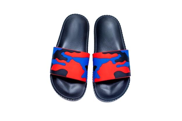 Trendy comfort slide sandal red blue black military slipper isolated