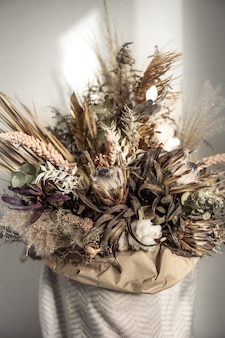 Trendy composition of dried flowers