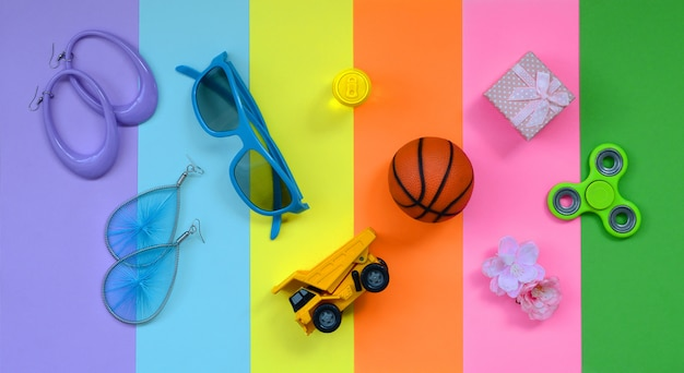Trendy fashionable pastel composition of summer background
