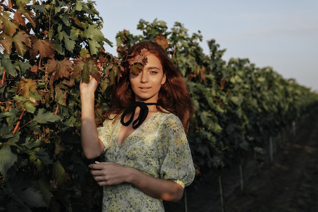 Trendy girl with long red hairstyle and black bandage on neck in light fashionable green clothes looking at front on vineyards