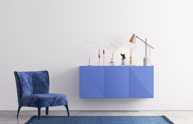 青のトレンディなリビングルームのデザイン