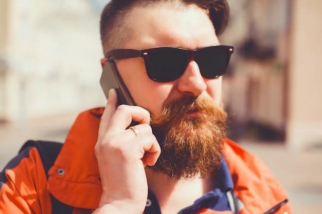 Trendy male plus businessman selfie