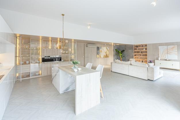 Trendy modern interior design of a large studio