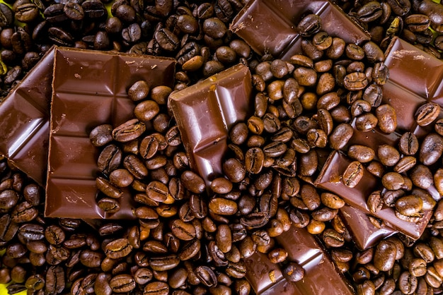 Trendy new kind of coffee. coffee in bars like chocolate, made from coffee beans, tasty and healthy energy snack