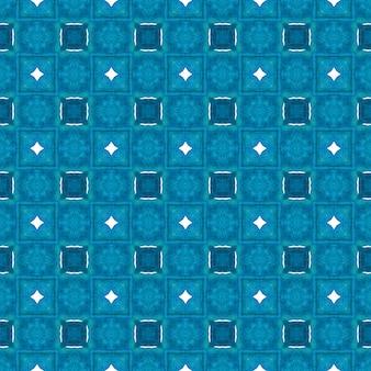トレンディなオーガニックグリーンボーダー。ブルーの驚くべき自由奔放に生きるシックな夏のデザイン。有機タイル。テキスタイル対応の見事なプリント、水着生地、壁紙、ラッピング。