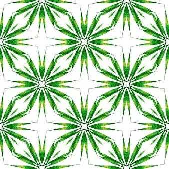 トレンディなオーガニックグリーンボーダー。緑の派手な自由奔放に生きるシックな夏のデザイン。テキスタイル対応のパワフルなプリント、水着生地、壁紙、ラッピング。有機タイル。