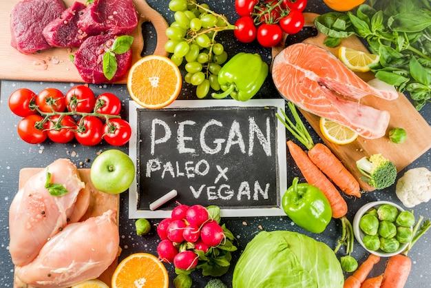 トレンディなペガンダイエット食品成分、肉、海藻、野菜