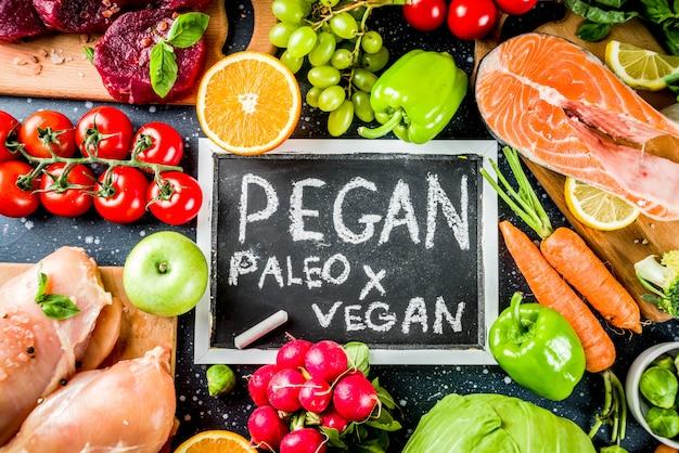 Trendy pegan diet food ingredients, meat, seaffod and vegetables