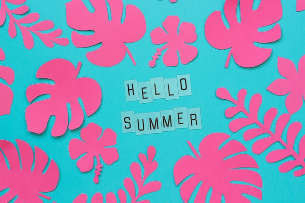 Trendy pink tropical leaves of paper and text inscription hello summer on blue background