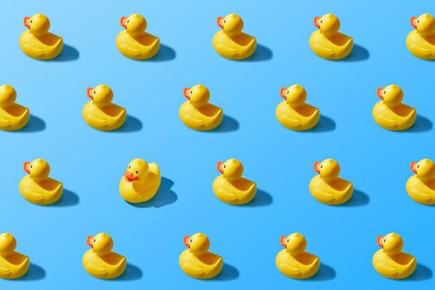 Trendy pop art design of a yellow rubber duck pattern