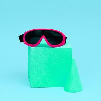 Trendy sports glasses in geometric composition. minimal art