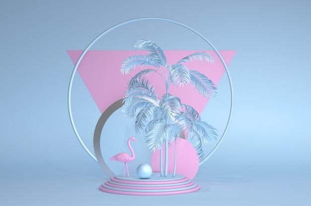 トレンディな夏のトロピカルパステル3d構成抽象的なスタイルピンクのフラミンゴエキゾチックなハワイの夏のサークルフレーム青い背景