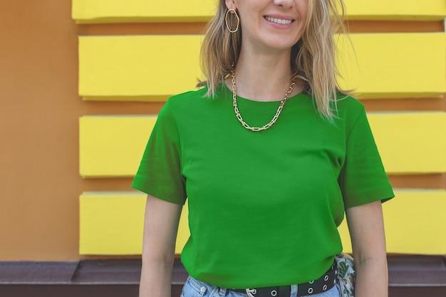 Trendy woman tshirt summer green mockup with bijouterie t shirt mockup