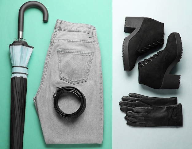 Trendy women's seasonal clothes and accessories on paper background. top view, minimalism