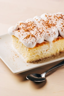 トレスレチェケーキの典型的なラテンアメリカのデザートは練乳でできています