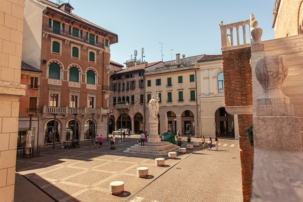 Treviso, italy 13 august 2020: piazza della libertã or liberty sqaure in english in treviso in italy