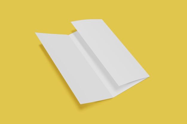 트라이 배 책자 이랑 노란색 배경에 엽니 다. 3d 렌더링
