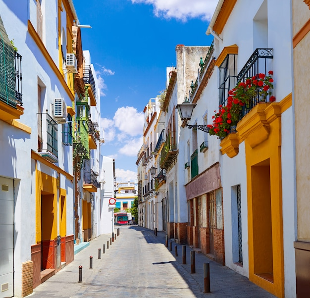 Triana barrio facades in seville andalusia spain