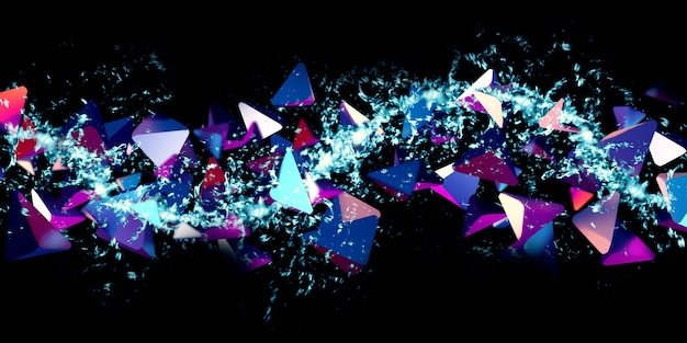 三角形の抽象的なネオンカラーファンタジー科学の背景