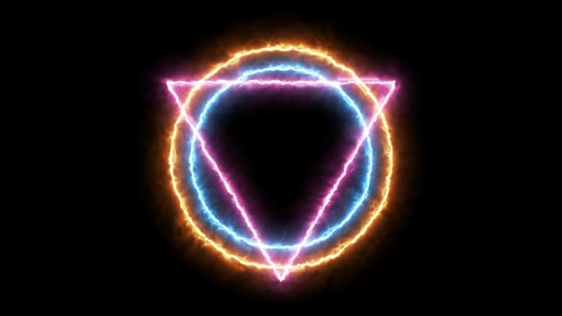 Triangle  and circle with fire particle, illuminati style