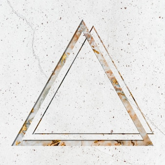 Triangle frame on white marble textured background