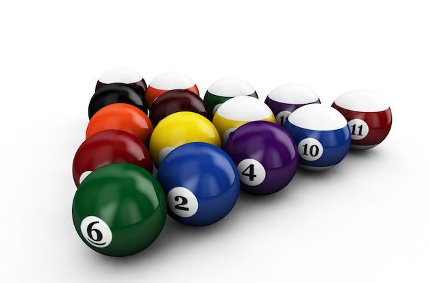 Треугольник группы красочные глянцевые шары игры бассейн с числами, изолированные на белом фоне. набор ретро бильярдных шаров. 3d визуализация