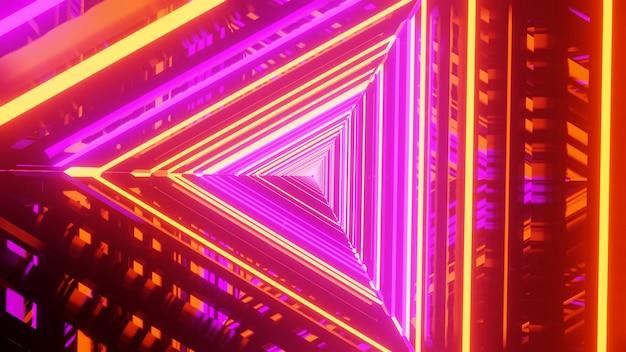 三角形のネオンワイヤーフレーム