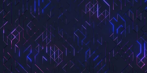 三角形のピクセル幾何学的抽象化グローテクノロジーの背景複雑な構造の3dレンダリング