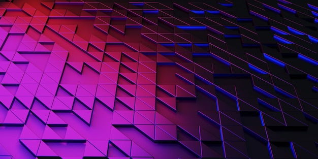 Triangle pixel geometric abstraction glow technology background complex structures 3d rendering