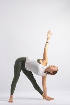Triangle pose 1 yoga posture asana