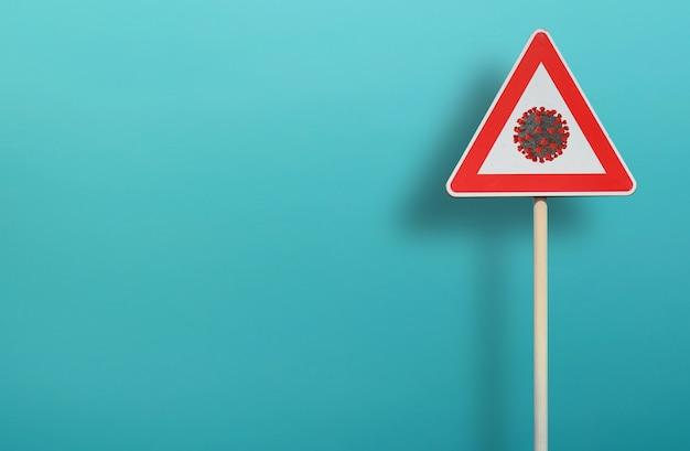Triangle signal street of warning with codiv 19 coronavirus