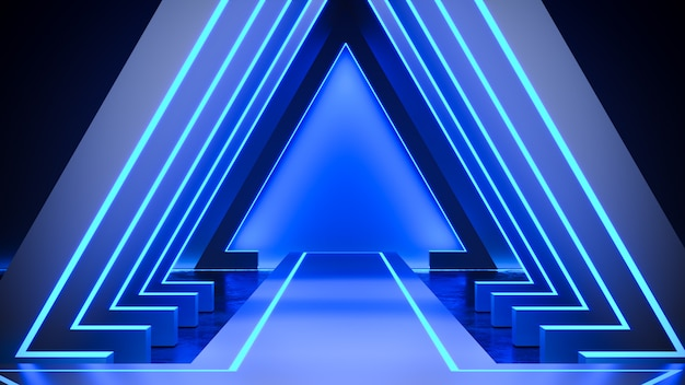 Triangle stage with neon light  blackground, and concrete floor, blue light, 3d render
