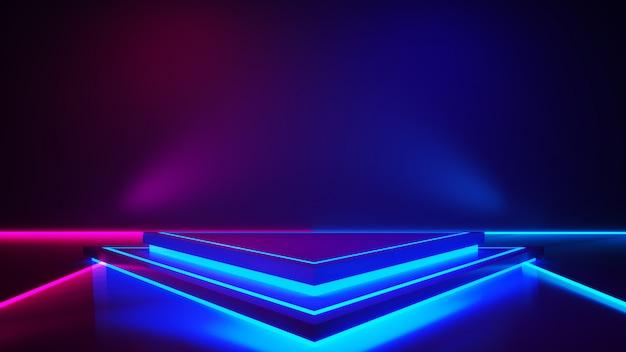 연기와 보라색 네온 불빛이있는 삼각형 무대
