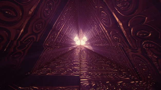 Triangle tunnel with relief geometric design 4k uhd 3d illustration