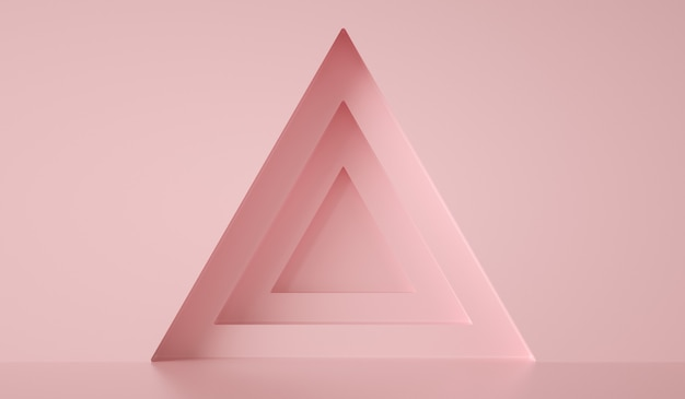 Формы треугольников на розовой стене, абстрактный фон, 3d визуализация