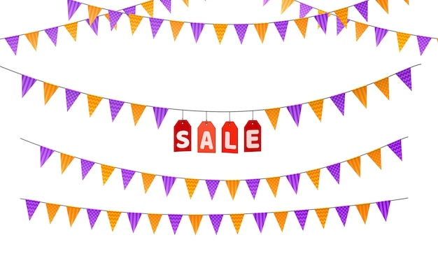 Triangular flags for the holidays. sale. isolated on white background. 3d render