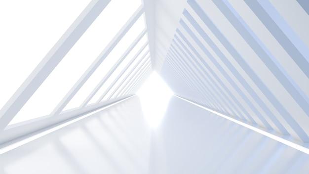 우주선 미래 빔 터널과 유사한 삼각형 모양의 복도